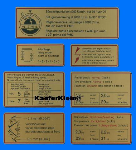 7 Klebeschilder für den Motorraum im PORSCHE 911, NEU