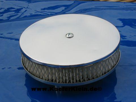 ***Wegen Lagerbereinigung*** Luftfilter flach, verchromt, Durchmesser ca. 16,5 cm, NEU, nur noch WENIGE lieferbar