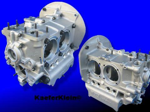 Motorgehäuse ALU, verstärkter Guß, Full Flow Anschluss, für 94er Kolben / Zylinder und 82er Kurbelwellen bearbeitet, NEU