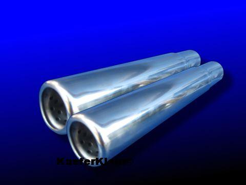 TDE-Style Endrohre mit vergößertem Durchlass für 12/13/15/1600er Serienauspuff in EDELSTAHL, ca. 250 mm (Paar)