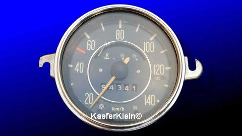 Tacho bis 140 km/h, Tachostand 94341 km, mit Tankanzeige, mit Chromrand, Bj 12.68, Teilenr. 113957021J, orig. VW, für VW-Käfer