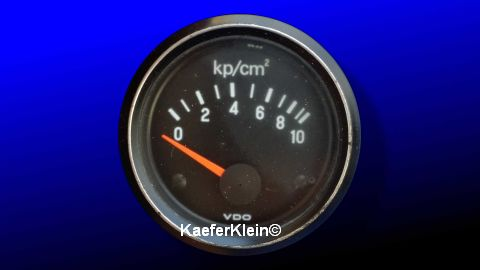 Öldruckmesser / Öldruckanzeige, VDO, 12-Volt, weiße Ziffern, bis 10 bar, 52 mm