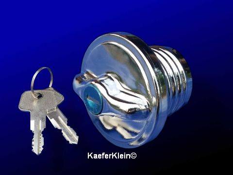 Tankdeckel, verchromt, abschließbar, incl. 2 Schlüssel, für VW-Käfer, Buggy, Trike, NEU