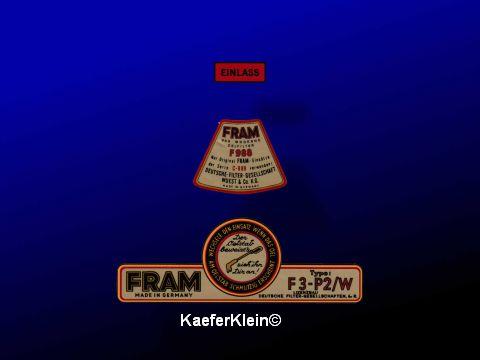 Klebeschilder Set für Nebenstrom Ölfilter FRAM, NEU
