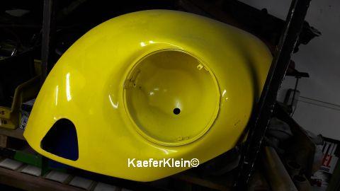 Orig. VW Käfer Kotflügel vorne, USA Version (siehe Stoßstangenöffnung), gelb, vom 1303er, Beifahrerseite