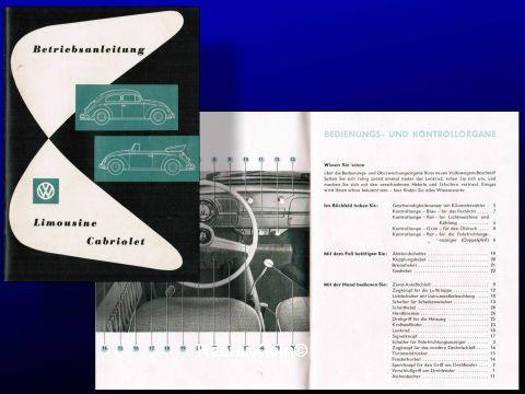 Betriebsanleitung VW Käfer, Limousine / Cabrio, Ausgabe August 1957