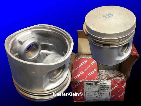 Kolben + Kolbenbolzen, NOS, Satz, 4 Stück, orig. MAHLE, made in Germany, für 1.1 VW Polos oder Derby, MAHLE Teilenr. 0294313