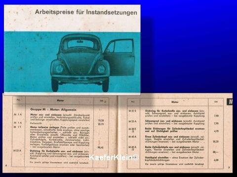Kleines orig. VW Handbüchlein zum Thema Arbeitspreise für Instandsetzungen, 50 Seiten, Ausgabe 1968