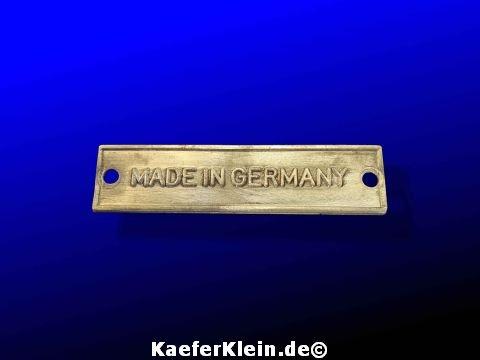 Blechschild MADE IN GERMANY zur Befestigung am Gebläsekasten, oder wo auch immer