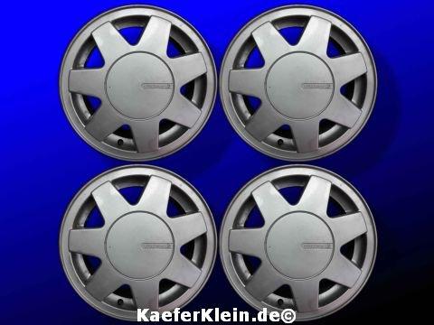 VW Alu Felgen ZANDVOORT, 6x14, ET38, LK 4x100, Teilenr. 357601025C incl. Nabenkappen, Satz